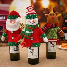 1/2/3/4pcs Christmas Wine Bottle Cover Deer  Santa Claus Xmas Cap Decor Dinner Party Christmas Decorations For Home