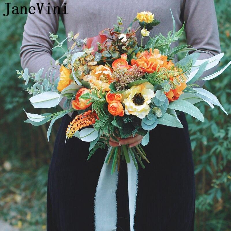 JaneVini Vintage Orange and Green Wedding Bouquet Artificial Bridal Silk Rose Bride Holding Fake Bouquet Flowers Bouquet Pivoine