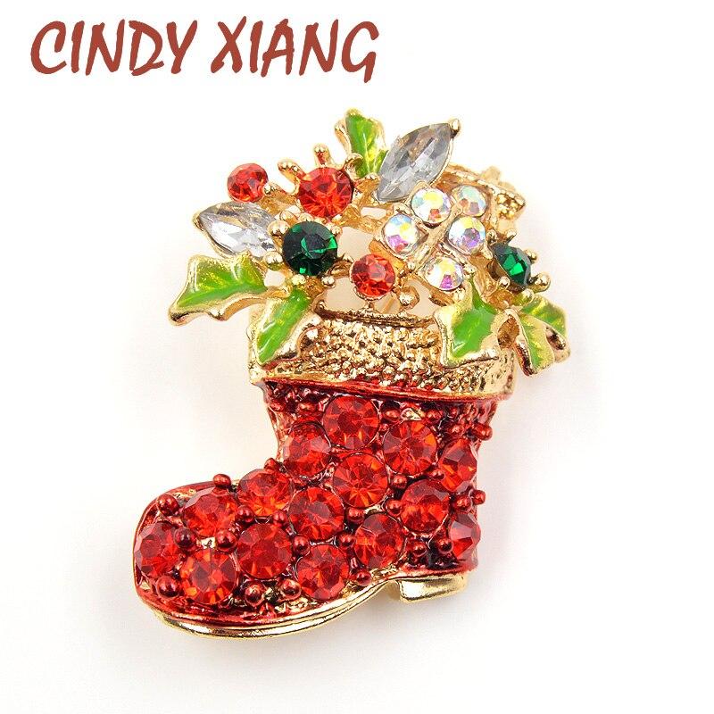 CINDY XIANG Rhinestone botas Broches pines para las mujeres lindo Color rojo Navidad zapatos broche abrigo mochila Broches joyería de moda