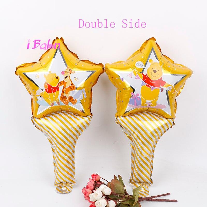 Winnie el Pooh globos con varilla 10 Uds winnie Oso de aluminio palo globos Decoraciones para fiesta de cumpleaños juguetes de los niños suministros de baño para bebé