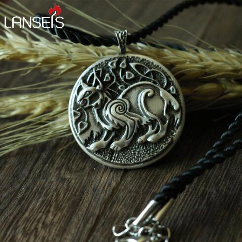Lanseis dropshipping 1 Uds. CH-834-C símbolo celta vikingo LYNX Colgante animal para hombres collar de doble cara joyería euroasiática para mujeres