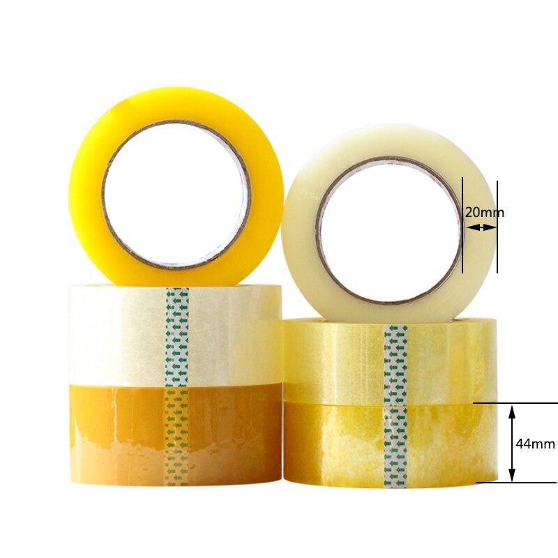 44mm x 20mm cinta de embalaje transparente Beige adhesivo suministros de papelería Paquete de rasgaduras herramientas escuela estudiante adhesivos cintas de negocios