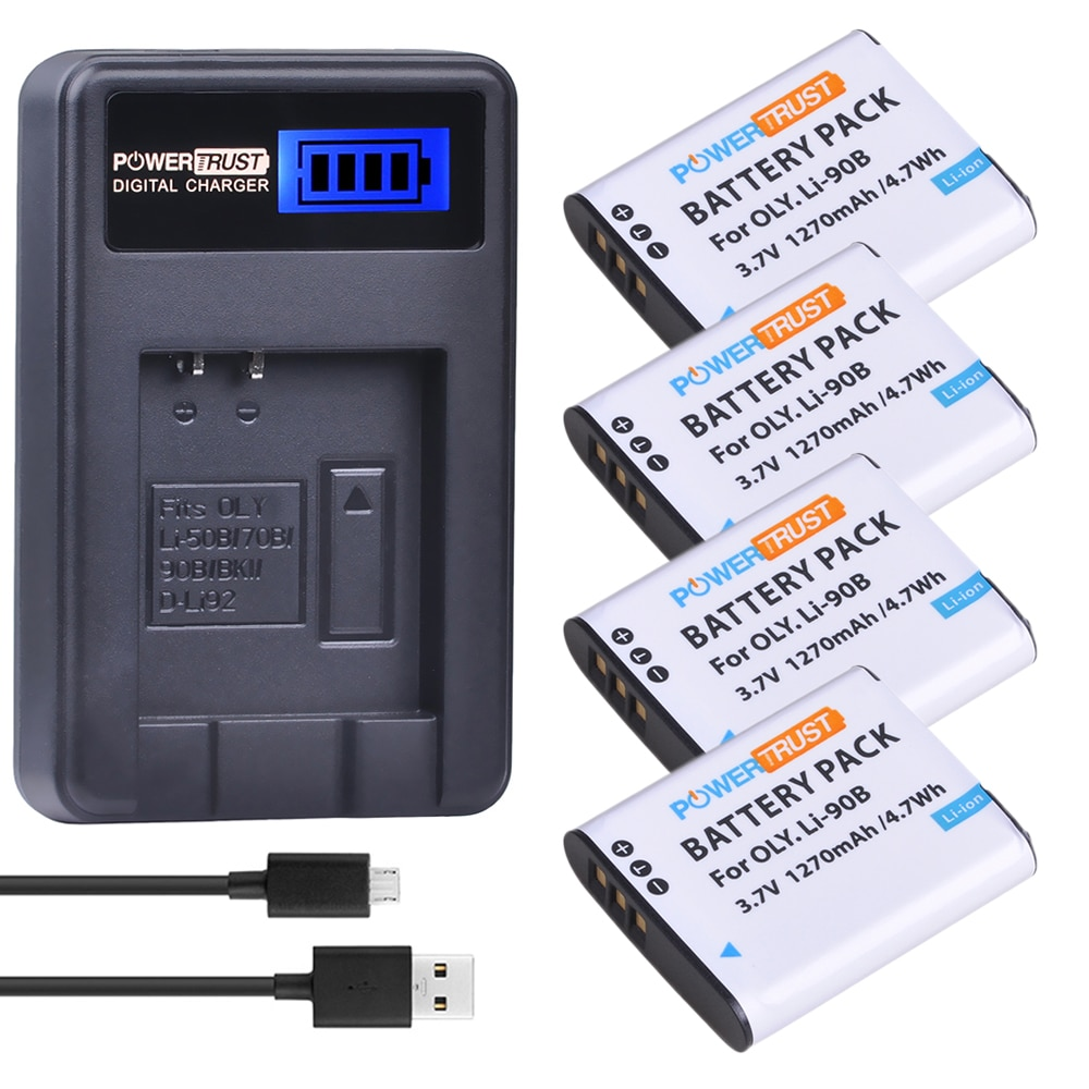 Paquete de 4 LI-90B LI 90B LI90B LI-92B Cámara batería + cargador USB con LCD para Olympus Tough TG-1 iHS TG-2 iHS TG-3 TG-4 SH50 iHS SH60