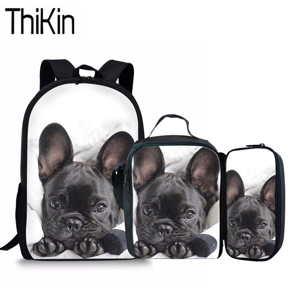 THIKIN 3 unids/set mochilas escolares para niños Bulldog francés mochila de hombro para niñas impresión 3D mochila de estudiantes bolsas primarias