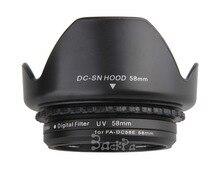 Adaptateur filtre dobjectif de caméra anneau métal FA-DC58E à 58mm filetage femelle + capuchon dobjectif + pare-soleil + filtre UV 58mm pour G1X Mark II
