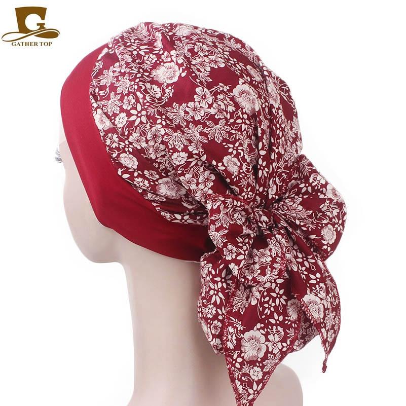 Nueva moda, bufanda de algodón elástica Vintage para mujer, gorro de quimio, turbante con lazo, diadema, gorro para dormir, gorro para la cabeza, gorro para la caída del pelo