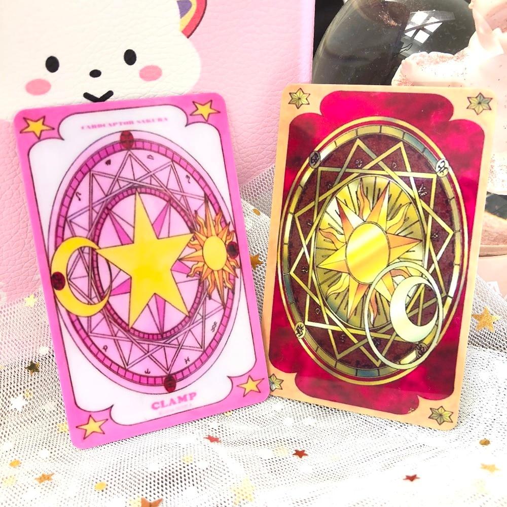 2pcs/Set Anime Sakura Cardcaptor The Clow  Beauty Glossy Key Card Bus Card Magic Circle Stickers Tag Japan Cartoon Toy Paster