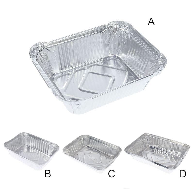Caixa de almoço descartável bandeja de lata forno caixa de macarrão tigela takeaway pacote folha de alumínio retângulo churrasco produtos (conjunto de 5)