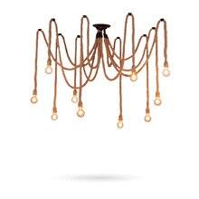 Hemp Rope Vintage Pendant Lights Fixture For Dining Room Restaurant Suspension Retro bar hanging lamp Industrial Loft Luminaire