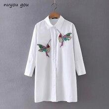 Женский офисный Топ nvyou gou, белая блузка с длинным рукавом и вышивкой в виде птицы, с отложным воротником, весна-осень 2019