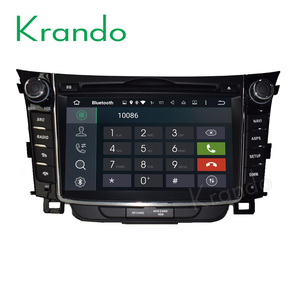 Krando 안드로이드 9.0car 라디오 멀티미디어 현대 i30 2011 2012 + 자동차 dvd gps 네비게이션 시스템 와이파이 3G BT Playstore DAB +