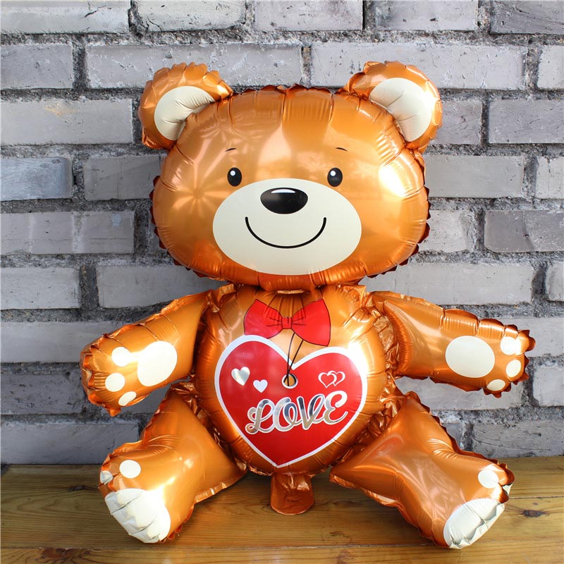 1 Uds. 64CM 3D oso amor globos amor corazón oso lámina globo niño niña feliz cumpleaños globos decoración de fiesta de boda juguetes inflables