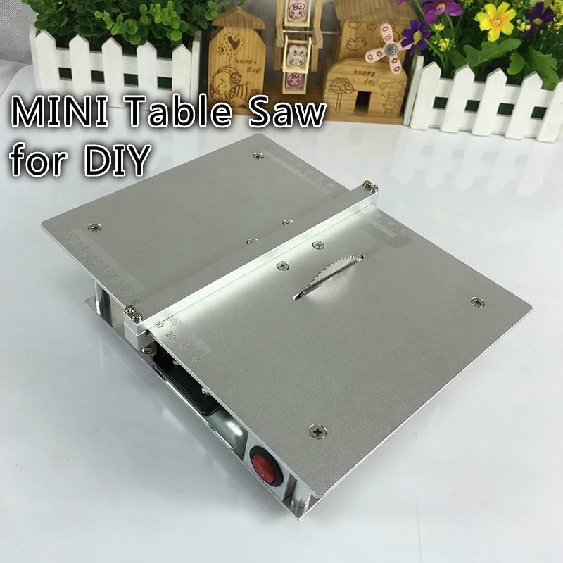 Micro Mini sierra de mesa Pcb acrílico máquina de corte Simple modelo de Metal Sierra de carpintería herramienta de bricolaje