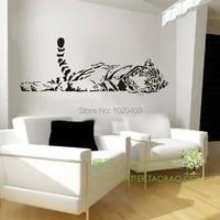 Autocollant mural tigre Animal  100x40cm  decoration de maison  a la mode  mignon  etanche  pour chambre a coucher  salon  canape  cabine en verre