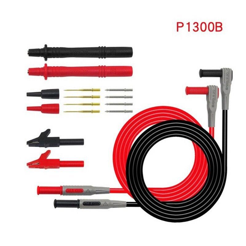 12 En 1 serie P1300 Sonda de multímetro reemplazable juego de cables de prueba de Clip de cocodrilo 4mm Banana Plug Stick PVC multi medidor de sonda