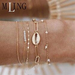 Mling 5 pçs/set concha do vintage pérola charme pulseira para mulheres cor de ouro grânulo corrente multicamadas pulseira feminino festa jóias