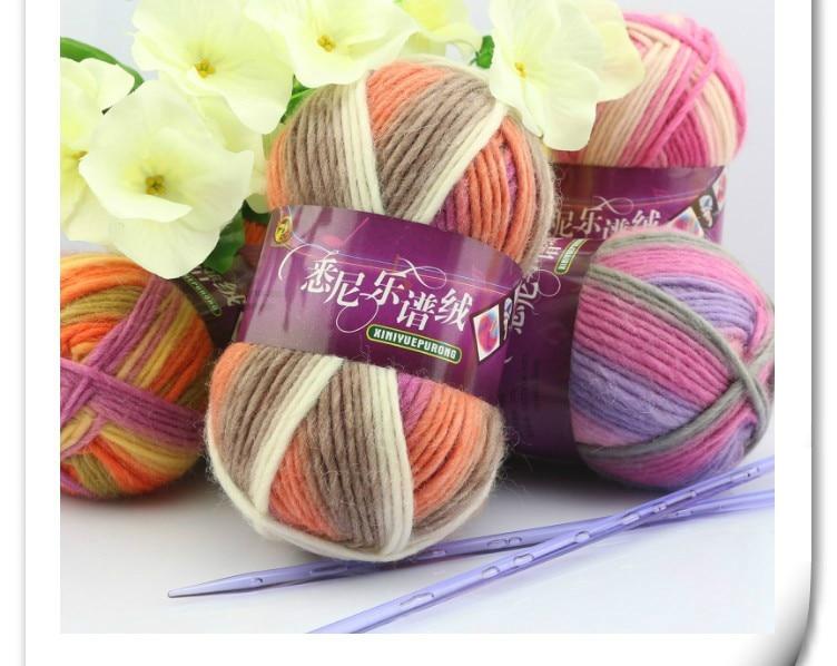 Hilo de lana de tinte espacial, 400g, 4 bolas, para tejer a mano, lanas para tejer