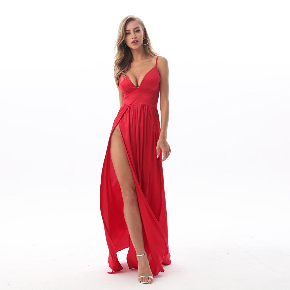 сексуальные Глубокий V-образный вырез без спинки  длинное платье Щелевая красный атлас платье атласноедлина пола