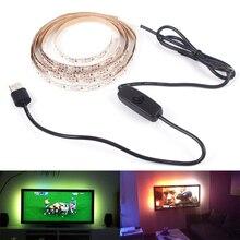 Lámpara de tira LED USB SMD3528 DC5V 1M 2M 3M 4M 5M con interruptor Flexible LED cinta ligera TV pantalla de escritorio iluminación de fondo