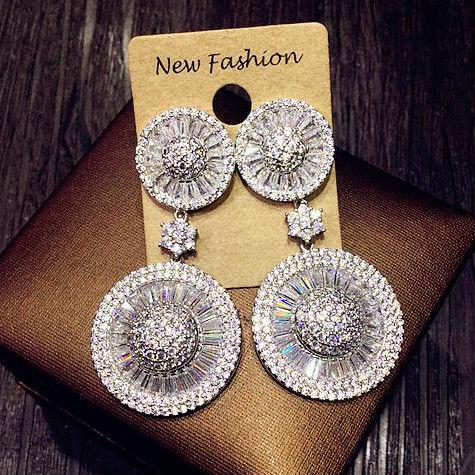 Luxury AAA cubic zirconia Drop Earrings Big Round disk Dangle Earrings Women Bride Party Wedding Jewelry White Gold Color