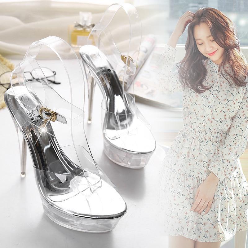 Mulheres verão salto alto 14cm peep toe sandálias de casamento sapatos de dança tubo de aço sapatos femininos cristal sapatos transparentes