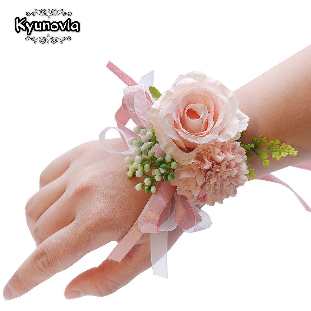 Boutique de boda Kyunovia, ojal de flores de seda, bonito corpiño de flores de jardín, corpiño de baile para damas de honor, ramillete de muñeca nupcial D136