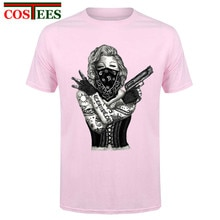 Artistic Brand Designer Marilyn Monroe Gangster Guns Tattoo T shirt women men Summer Short Sleeve Custom Cool Personality Tshirt