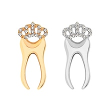 Fashion Tooth Brooches for Women Dress Lapel Pin with Crystal Crown Gold Sliver Teeth Dentist Jewelr