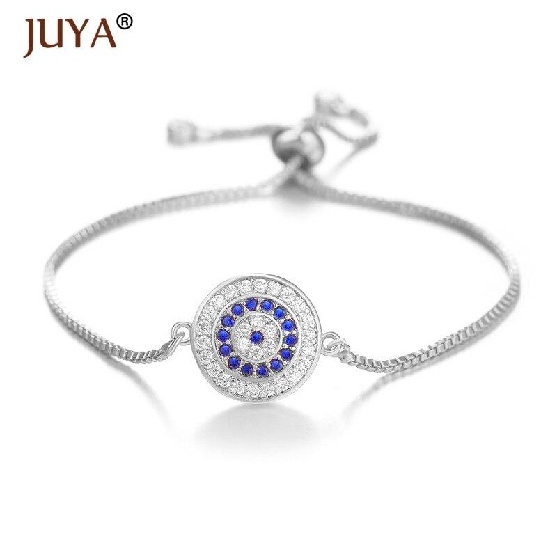Juya, moda de cobre con incrustaciones de zirconia transparente y azul, pulseras de ojo malvado turcas para mujeres, amuleto de la suerte, pulsera de joyería