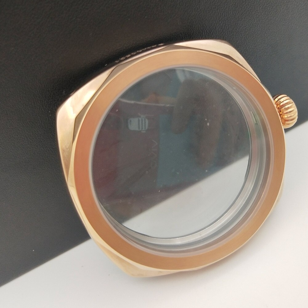 Caja de reloj 9085 dorado pulido 47mm adecuado para eta6497 / 6498 cristal mineral movimiento 47-16