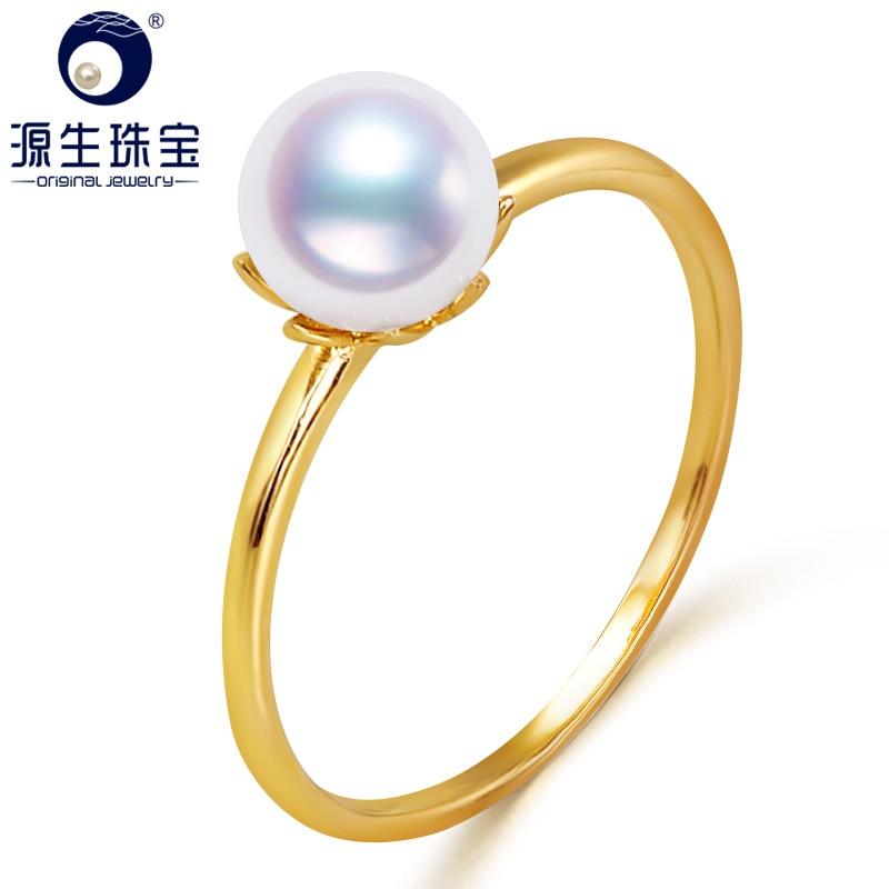 YS 6 14k Ouro Puro-6.5mm Branco Natural Japonês Akoya Pérola Anel de Casamento Fine Jewelry
