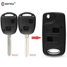 KEYYOU-coque de clé à 2 boutons   Pliable, pour télécommande Toyota RAV4 Avalon Echo Prado Tarago Camry Tarago TOY43/TOY47, étui Fob