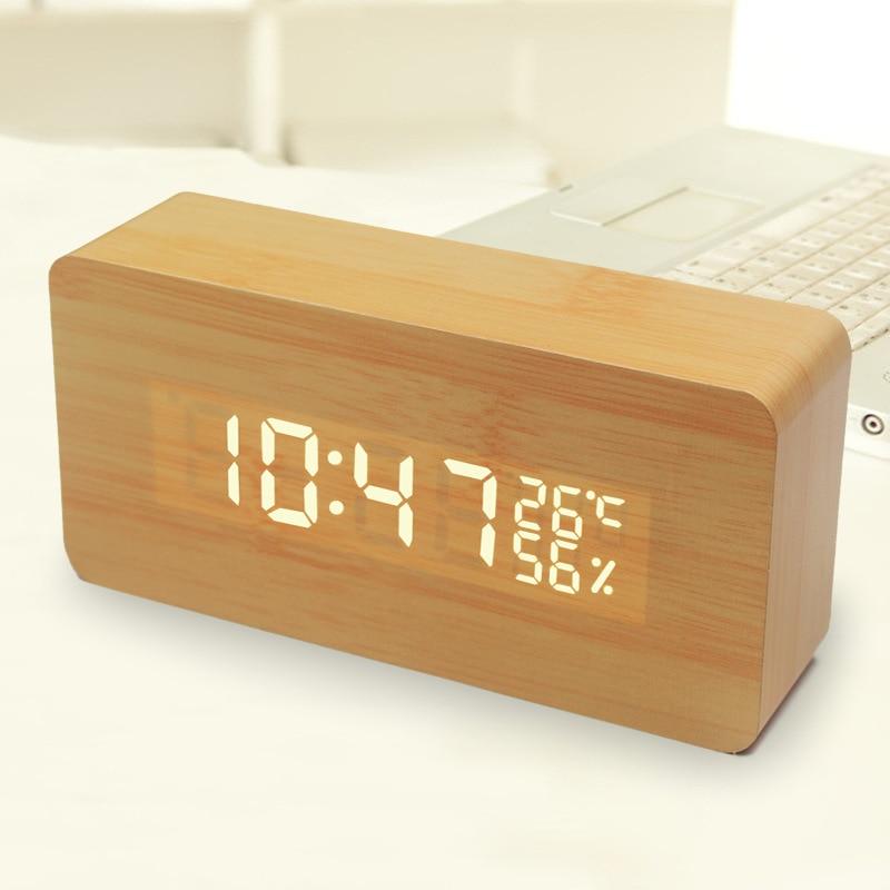 Cama Led pequeña alarma reloj despertador perezoso regalo creativo de madera activado por voz LED electrónico C Mini alarma