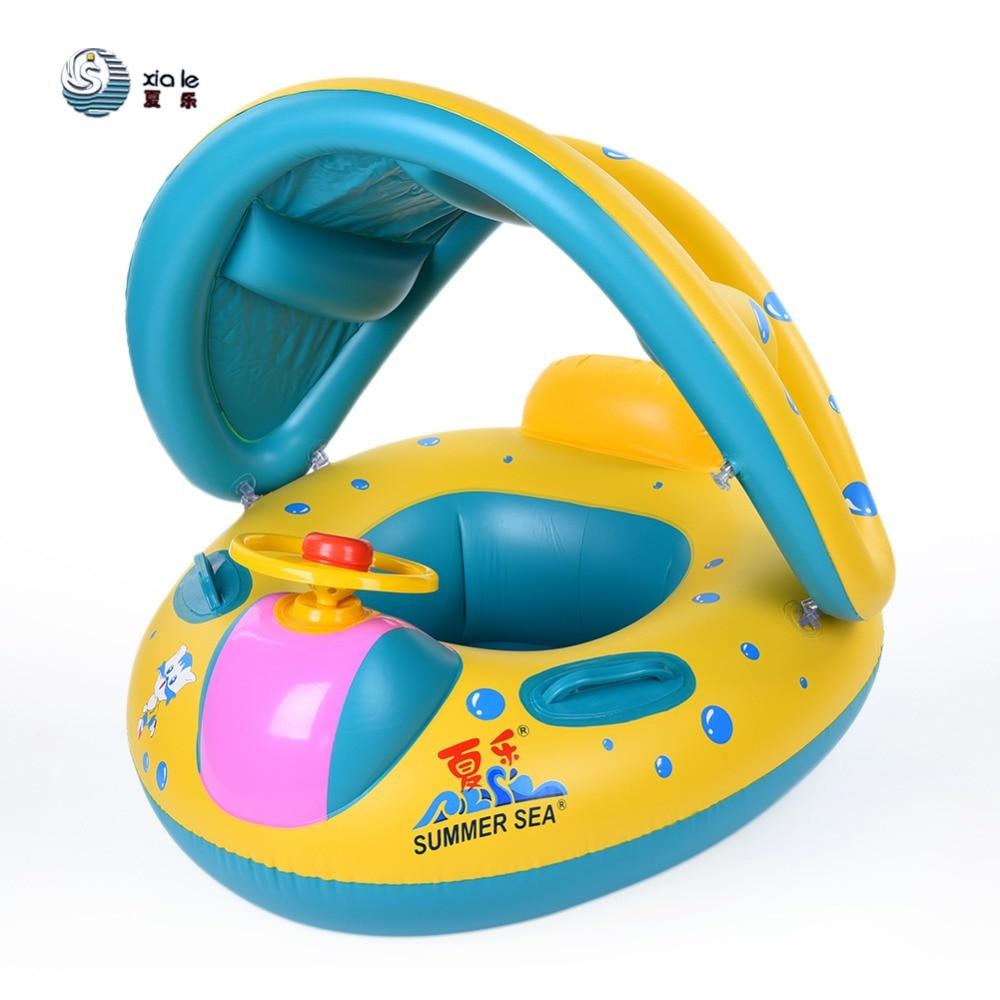 Seguro inflable bebé natación anillo piscina infantil asiento flotador ajustable sombrilla baño círculo inflable anillo de verano de juguete