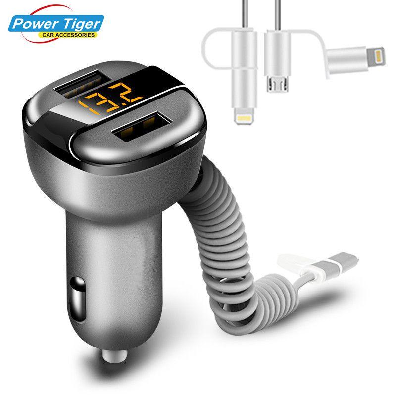 Nova 12 V-24 V 3.4A Carregamento Rápido Carregador de Carro Dual USB carregador de Carro-Carregador Inteligente Com Adaptador de Voltagem /corrente Digital Display LED