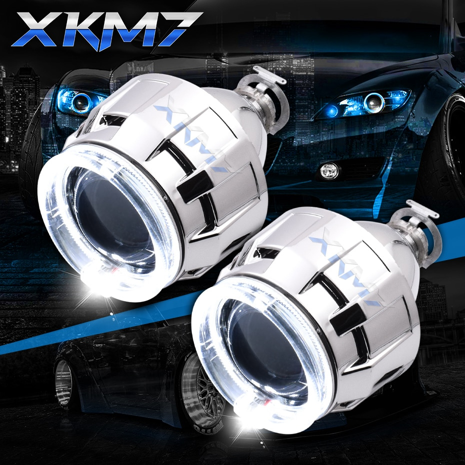 Angel Eyes Bixenon Projector Lenses For Headlight Retrofit H1 HID LED Bulb 2.5 inch Lens H4 H7 Car L