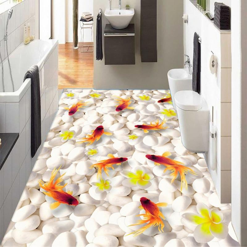 Фотообои на заказ, современные, галька, Золотая рыбка, 3D напольная плитка, фотообои, кухонные, для ванной, Нескользящие, водонепроницаемые, ПВХ, 3 D