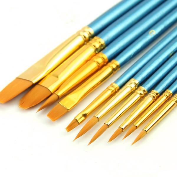 10 Uds set de pinceles para artistas acrílico acuarela punta redonda de nailon para cabello