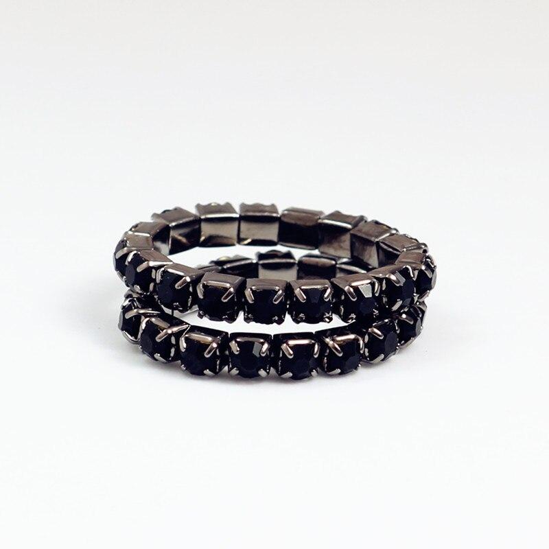Anillo ajustable elástico negro anillo plateado CZ cristal Jet Gem dedo del pie anillo 3mm