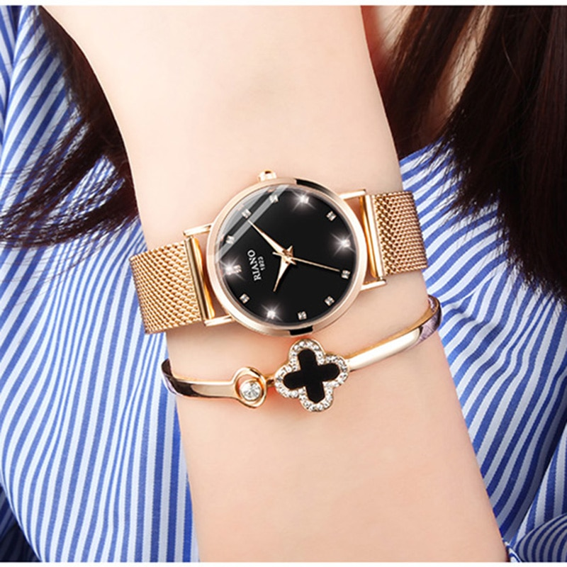 Luminous Creative Women Quartz Watches Gold Diamond Romantic Wristwatch For Girl Top Sell Classic Black Zegarek Damski New Trend