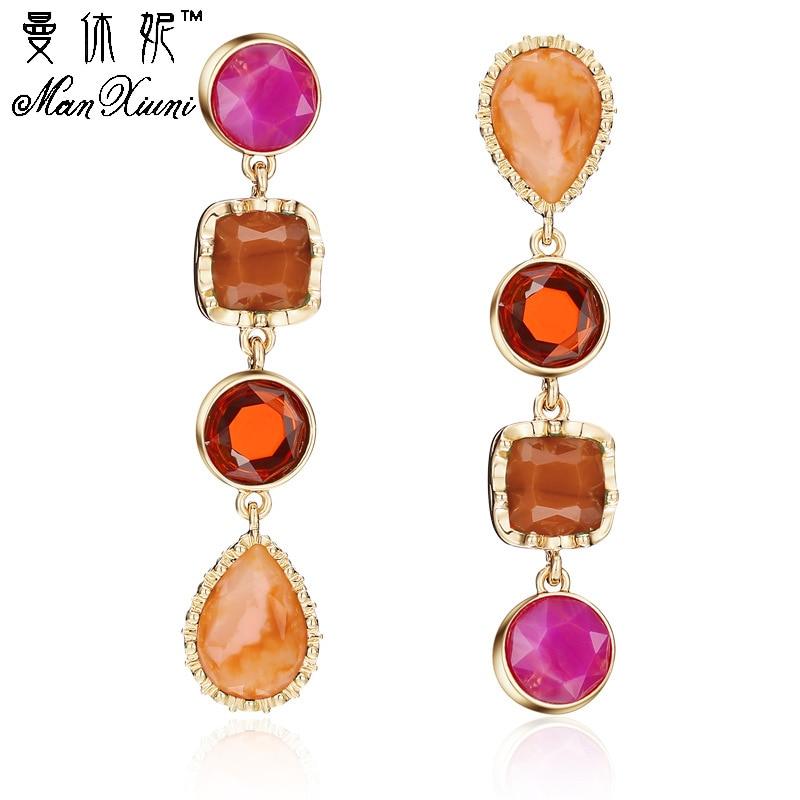 MANXIUNI 2017, Pendientes colgantes de gemas grandes geométricas coloridas de lujo, cadena larga, pendientes de gota de cristal para joyería de mujer