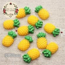 30pcs Kawaii Fruit Pineapple Resin Miniature Food Art Supply Flatback Cabochon DIY Decorative Craft Scrapbooking,11*18mm
