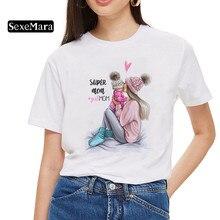 Женская футболка с надписью «Super Mom», белая футболка с надписью «Mother's Love» в стиле Харадзюку, летняя футболка с надписью «Mama Vogue»