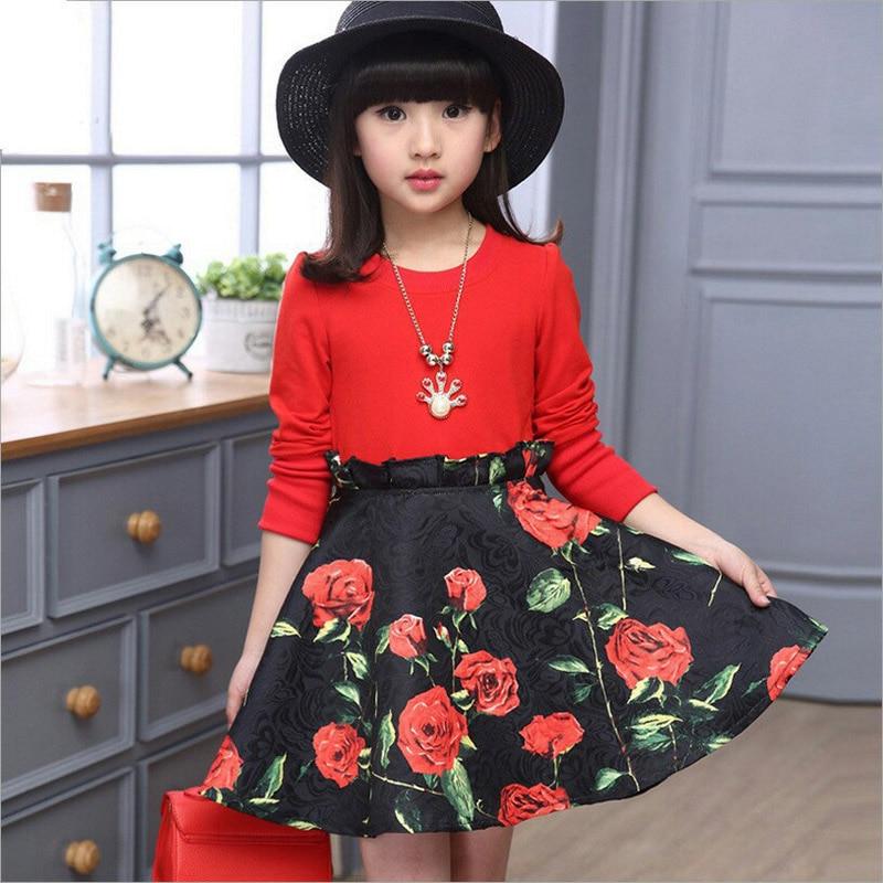 Children Dress 2019 Spring Autumn Girls Princess Dress Long Sleeves Print Dresses Fashion Girls Party Clothing 4 6 8 10 12 Years