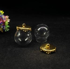 50pcss/lot 20*15mm clear glass globe gold color base cap set glass vial pendant glass bottle dome cover necklace pendant jewelry