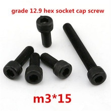 500 stück m3*15 hochfesten 12.9 stahl mit schwarzen oxid hexagonalen/hex zylinderschraube