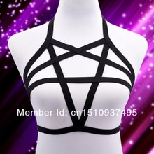 BDSM bondage women elastic body harness bra pastel goth Pentagram Harness sexy lingerie harajuku Body Cage bra
