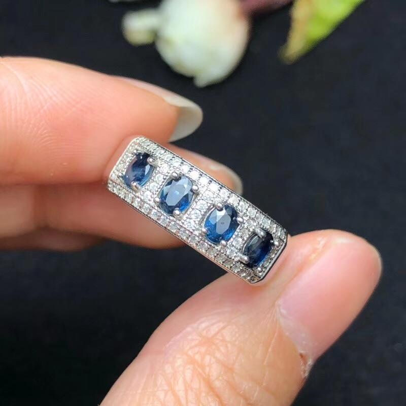 Кольцо из натурального сапфира, простой стиль, сапфир с sri-Ланки, Женское кольцо, 925 серебра
