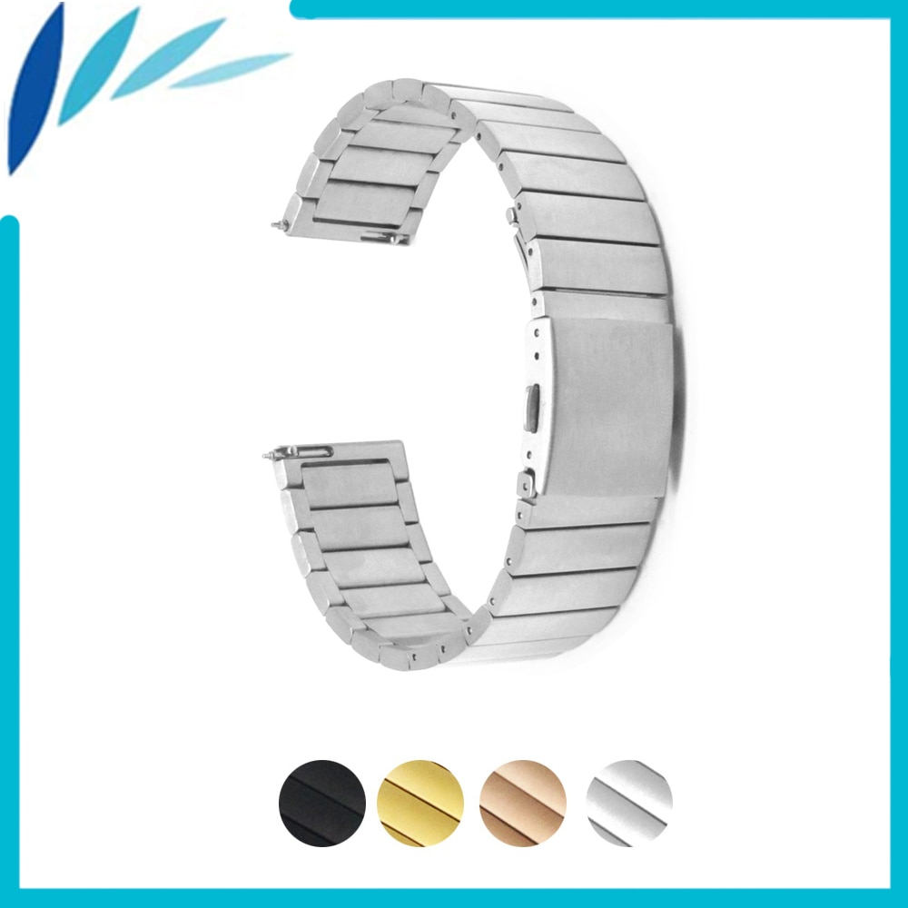 Stainless Steel Watch Band 22mm 23mm for Fossil Folding Clasp Strap Loop Wrist Belt Bracelet Black Rose Gold Silver + Spring Bar