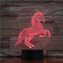 Licorne cheval 7 couleurs 3D LED lampe lumières cadeau créatif USB tactile 3D lampe de Table comme chambre denfant dormir LED décor